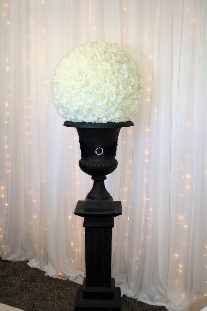 Black Urn & Pedestal with Ivory Rose Ball