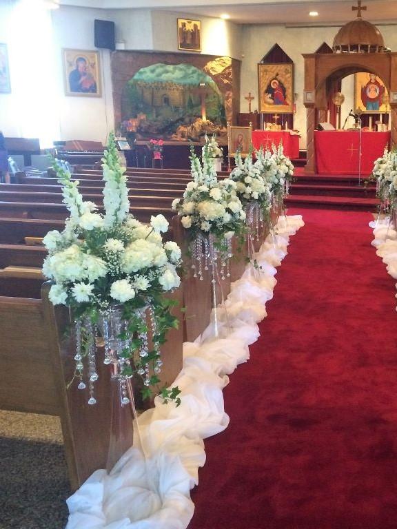 Clarinet Vases as Pedestals with Crystals & Fresh Floral Arrangements