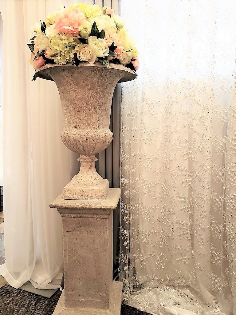 Grey Pedestal & Urn with Large Silk Rental Arrangement