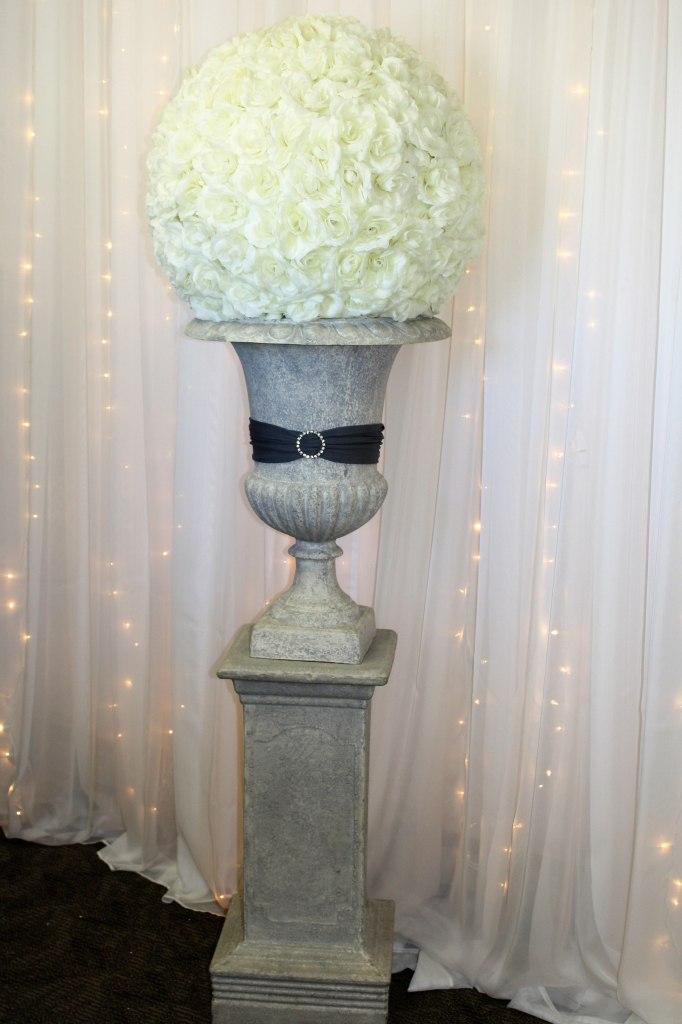 Grey Urn & Pedestal with Ivory Rose Ball