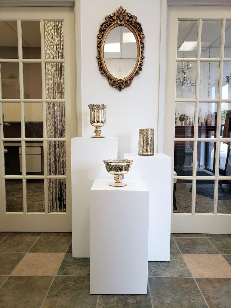 Plinth Trio with Mercury Vase Rentals