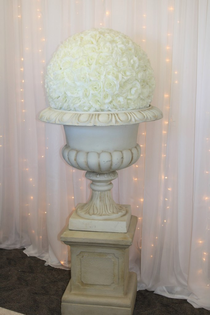 Wine Stone Urn & Pedestal with Ivory Rose Ball