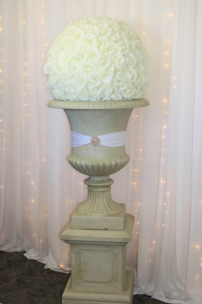 Tall Stone Urn & Pedestal with Ivory Rose Ball
