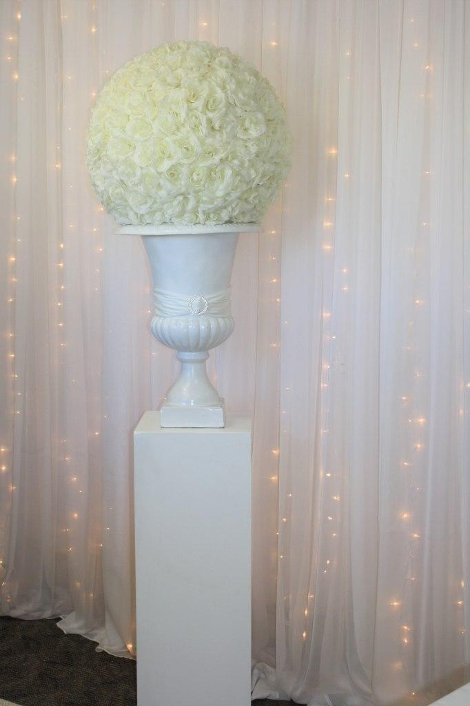 White Cube Pedestal, White Urn, Ivory Rose Ball