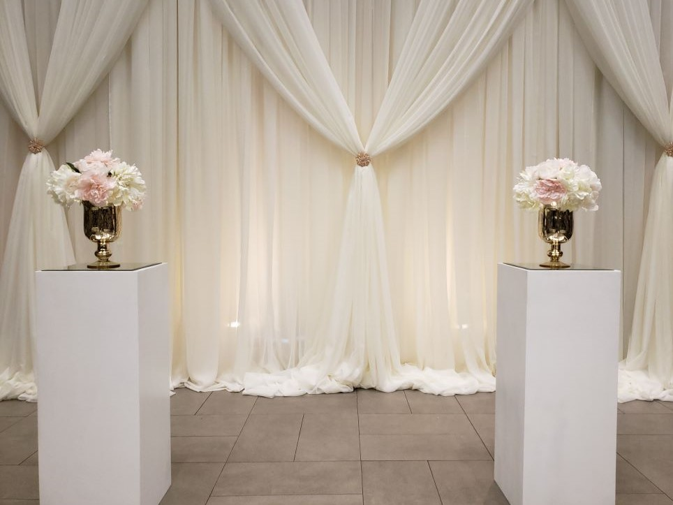 White Cube Pedestals with Gold Mercury Vases & Silk Rental Arrangements