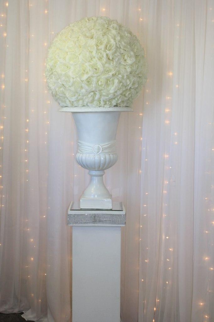 White Jeweled Pedestal, White Urn, Ivory Rose Ball