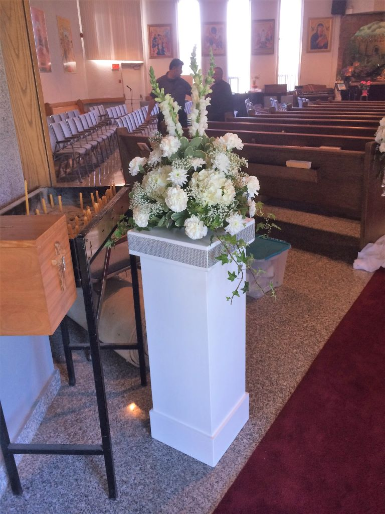 White Jeweled Pedestal with Fresh Floral