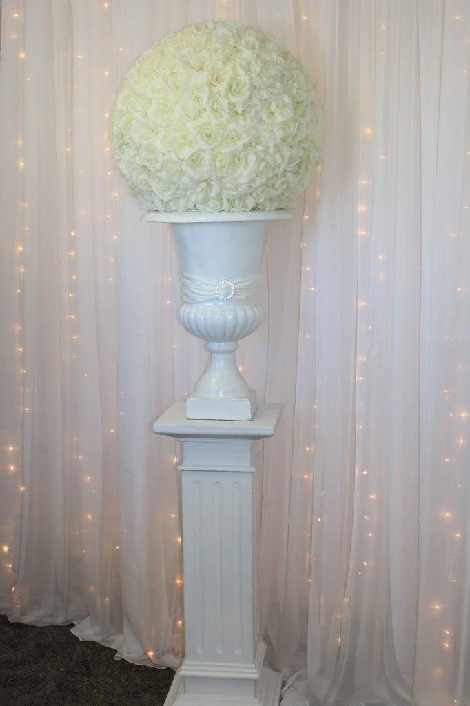 White Roman Pedestal, White Urn, Ivory Rose Ball