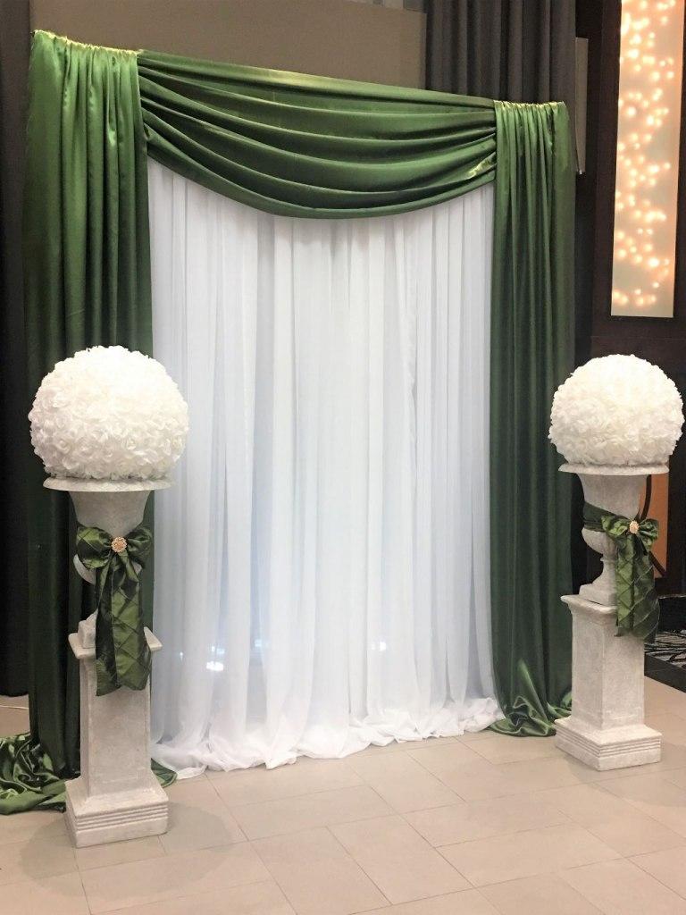 Grey Urns & Pedestals with White Rose Balls & Willow Green Sash Ties