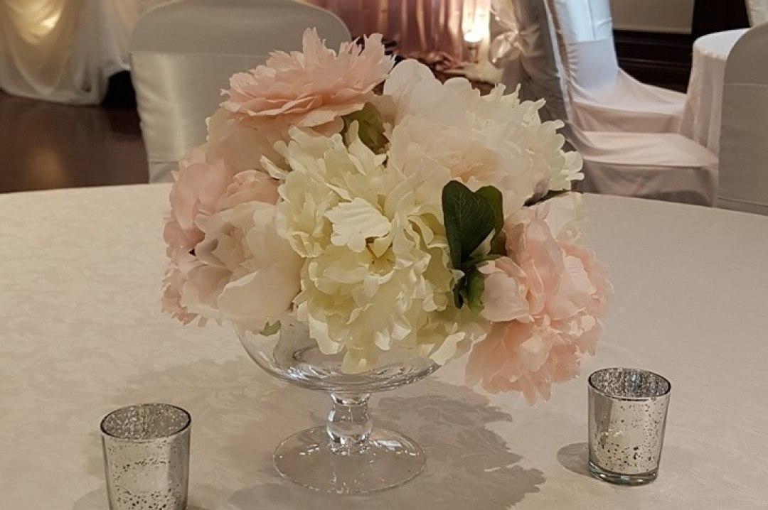 Silk Small Floral Rental on low Pedestal Vases