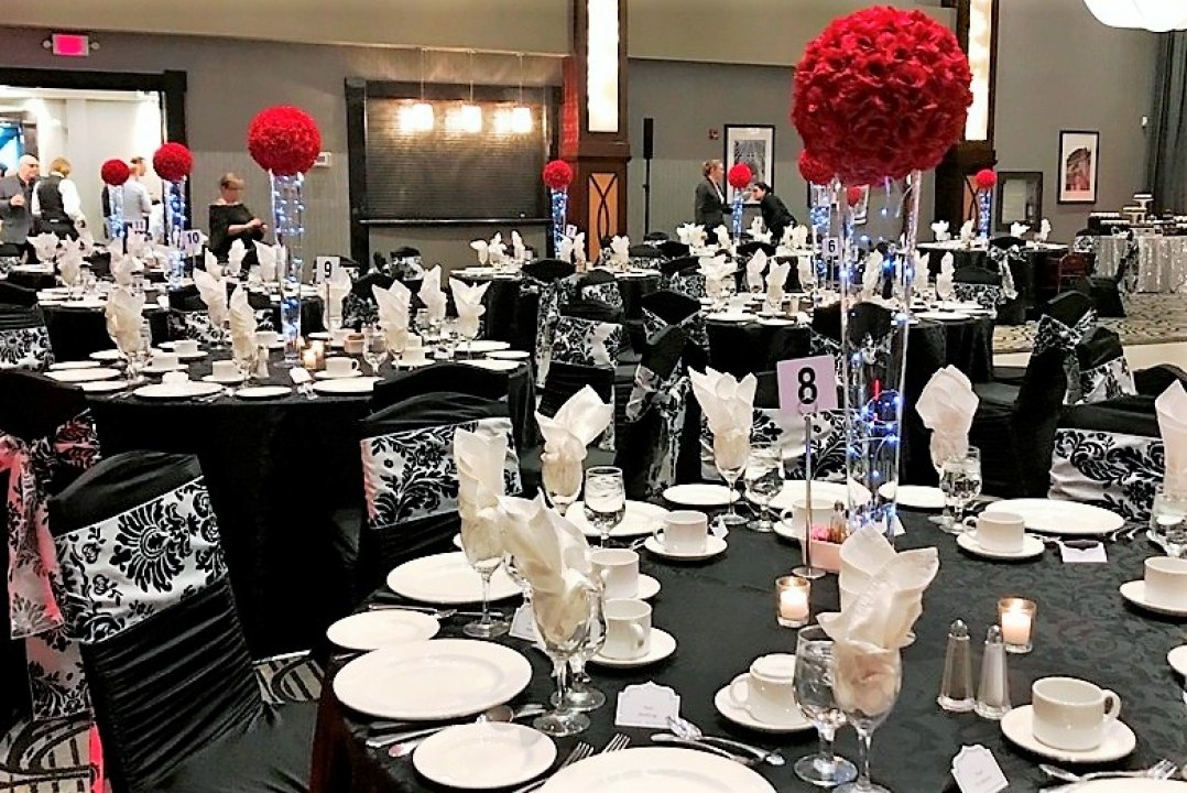 Red Rose Ball Centrepieces with Fairy Lights