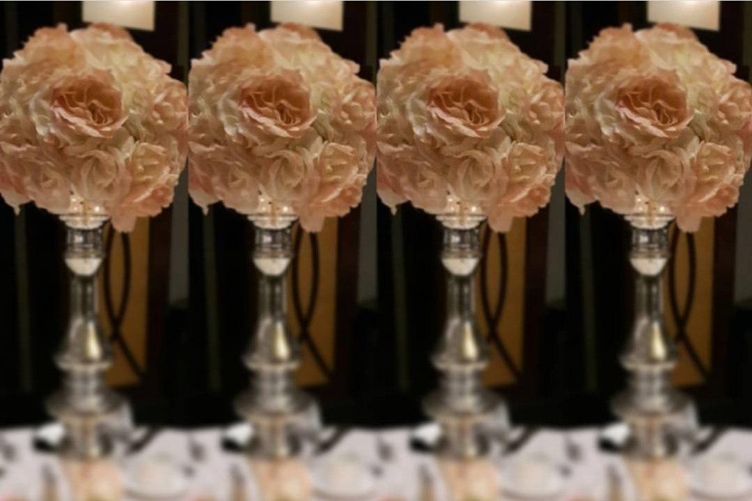 Blush Rose Ball Centrepieces on Mercury Pedestal