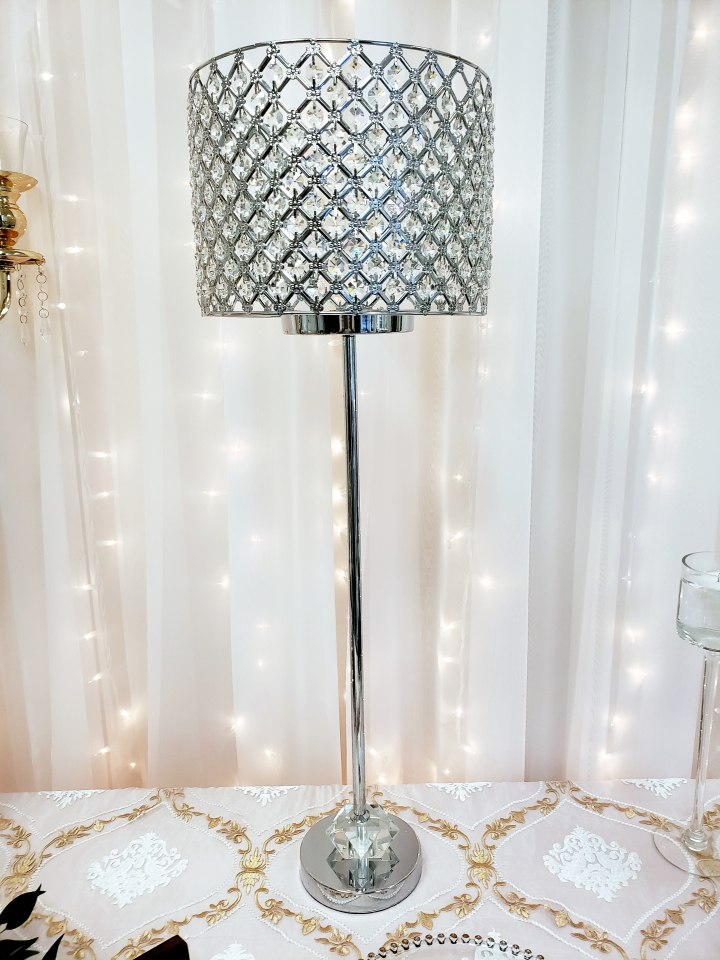 Silver Crystal Shade & Diamond Stand Centerpiece 34""