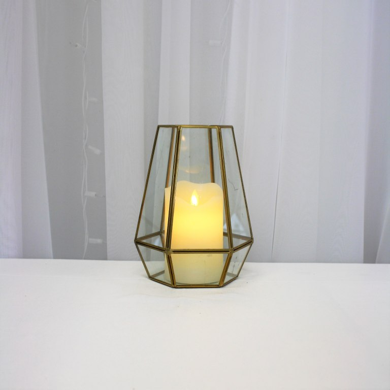 "Gold Terrarium 8"" with LED Flicker Flame Candle Rental"