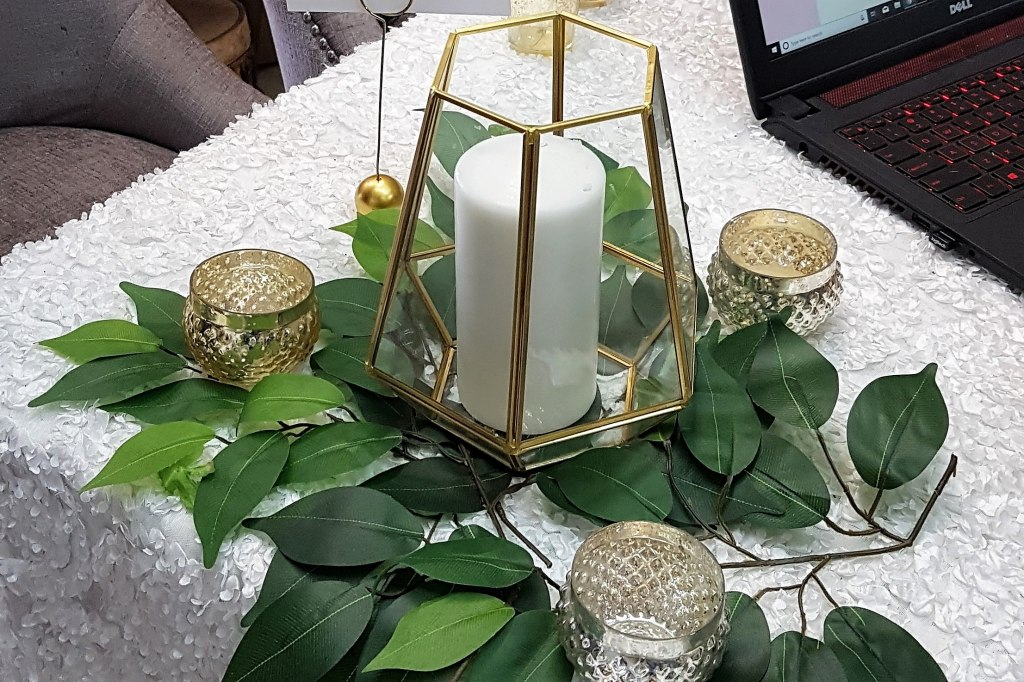"Gold Geo Terrariums 8""h - available with Candles, LED, Fairy Lights"