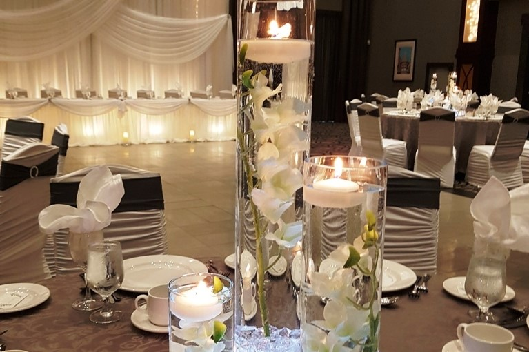 Orchids By Candlelight Trio Centerpiece Rental