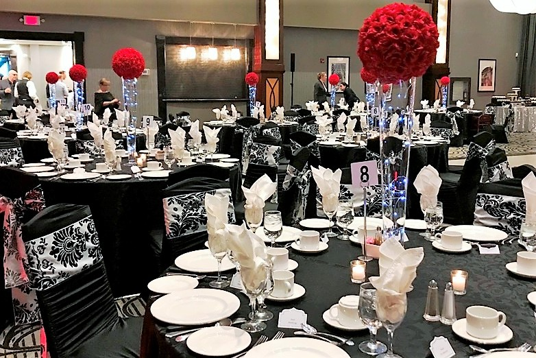 Red Rose Ball Centerpiece with Fairy Lights