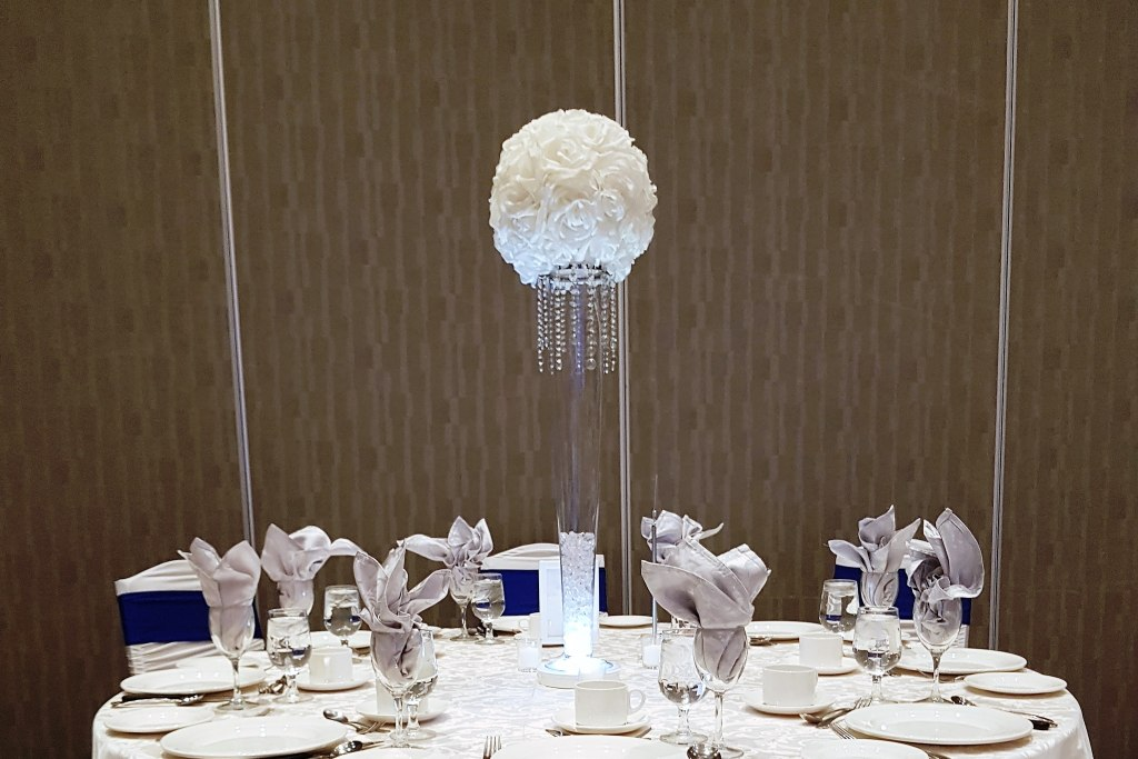 White Rose Ball Centerpiece with LED Light Base & Crystals