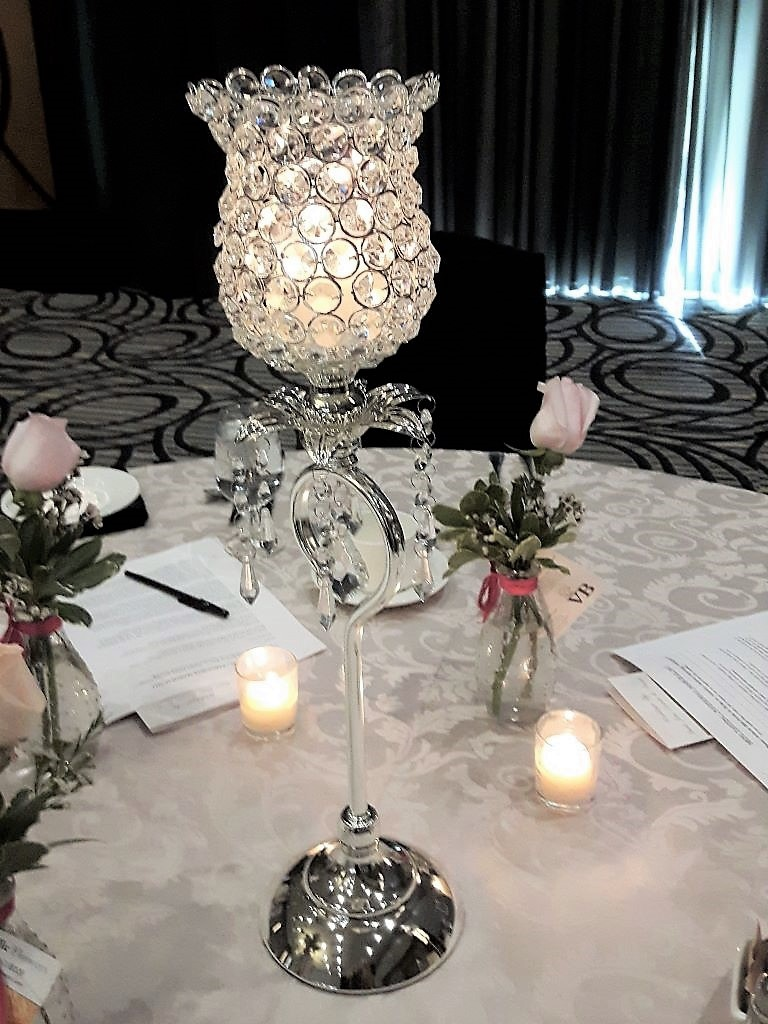 Silver Crystal Bloom Centerpiece 21""