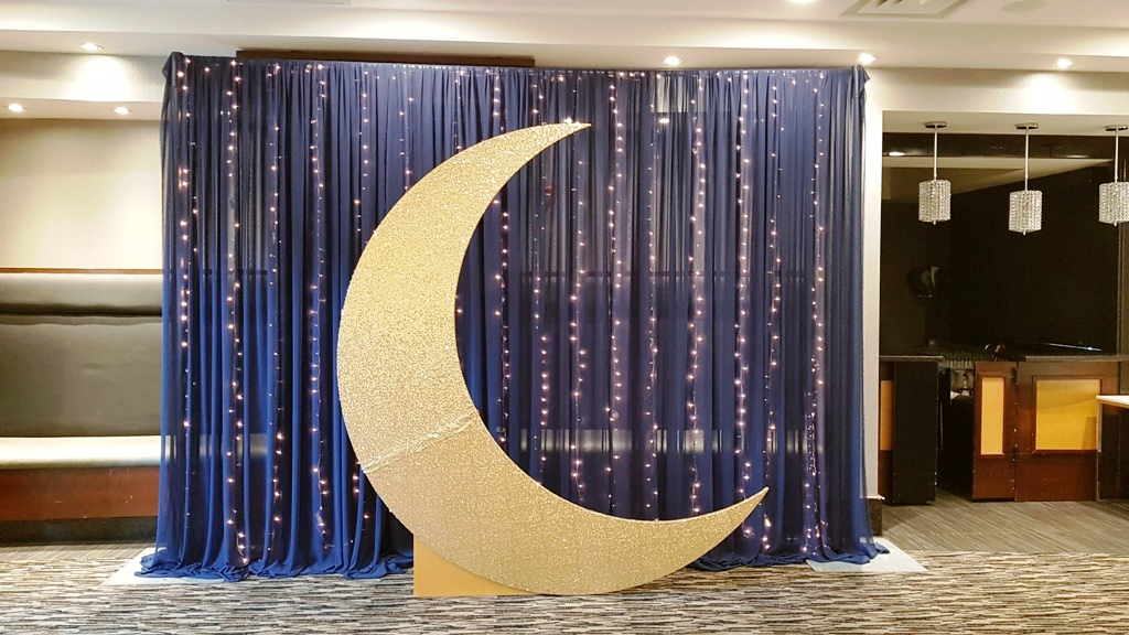 Starry Night Backdrop with Gold Crescent Moon & Waterfall of Lights