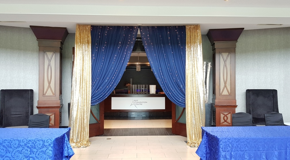 Gold Sequin & Royal Blue Entrance way