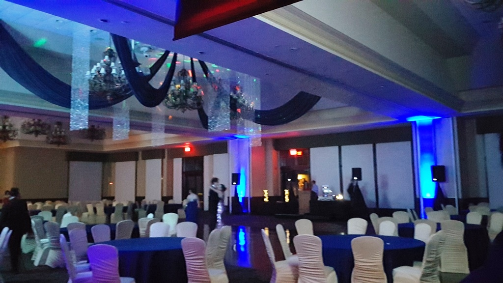 Navy Chiffon Ceiling Swags with Crystal Curtains