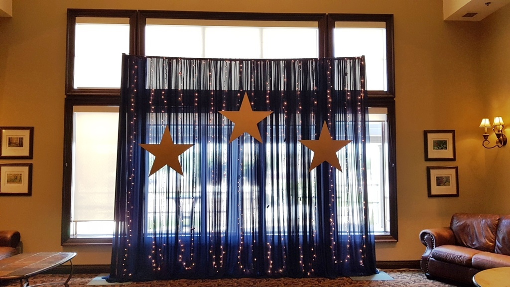 Navy Waterfall of Lights with Gold Stars