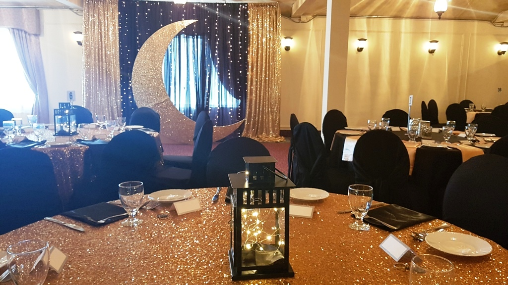 Gold Crescent Moon Backdrop + Gold Sequin Linens + Fairly Light Lanterns