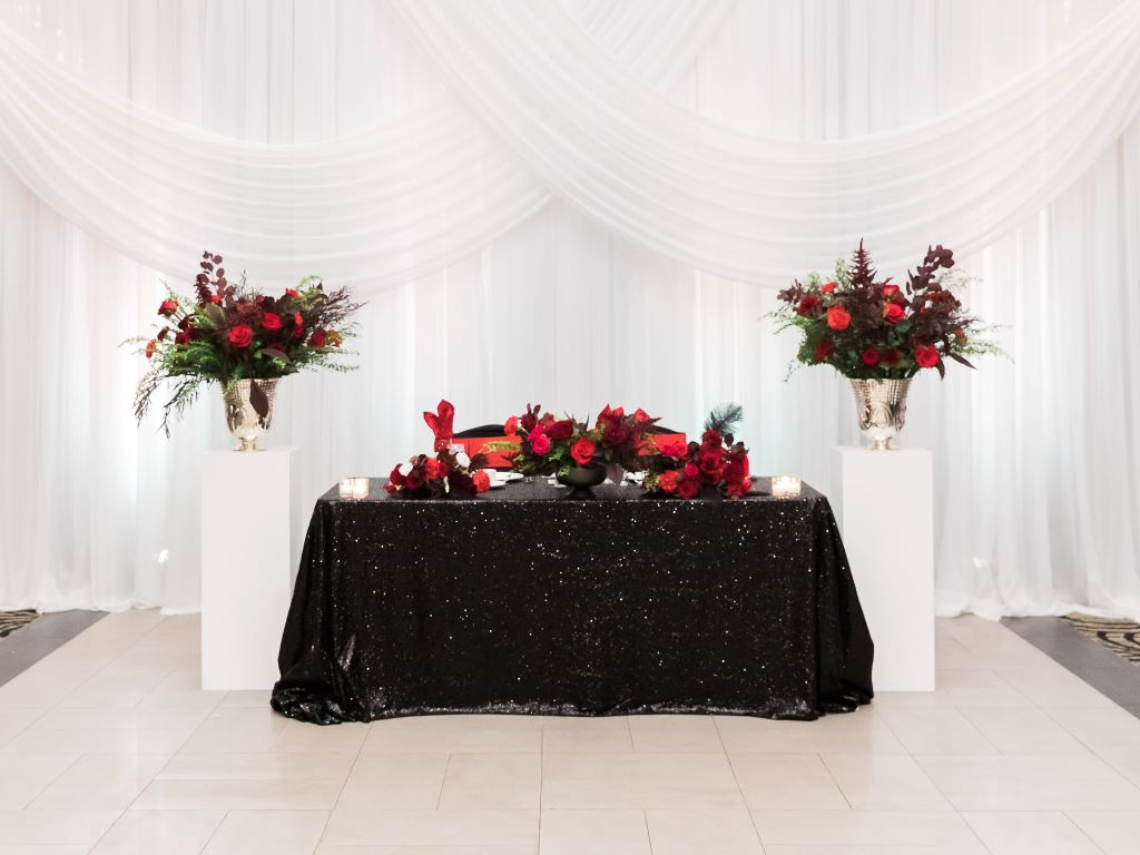 Black Sequin Sweet Heart Table with Pedestals & Florals