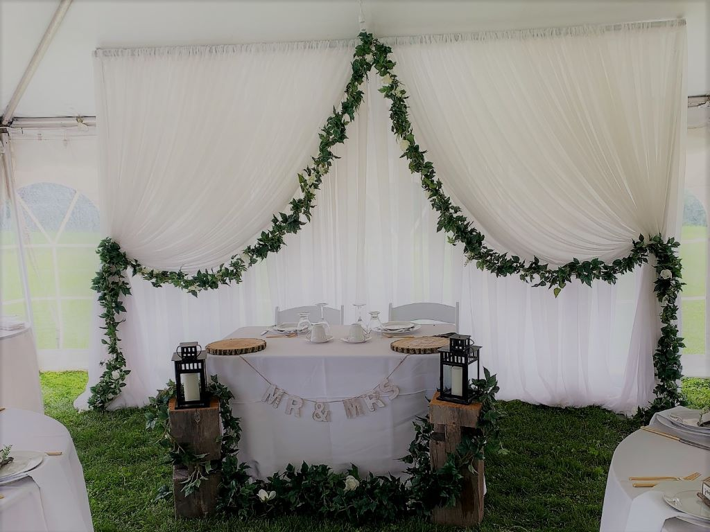 Window Style Backdrop with Silk Garland