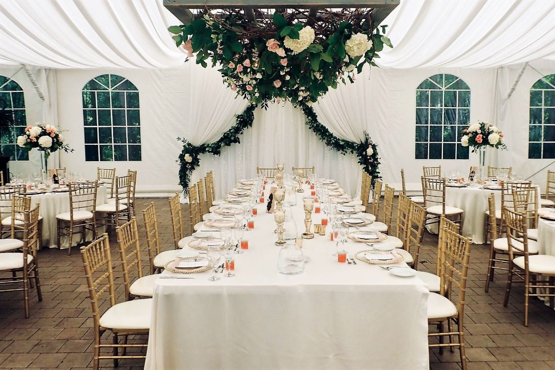 SW Window Drape Style Backdrop with Waterfall of Lights & Floral Garland
