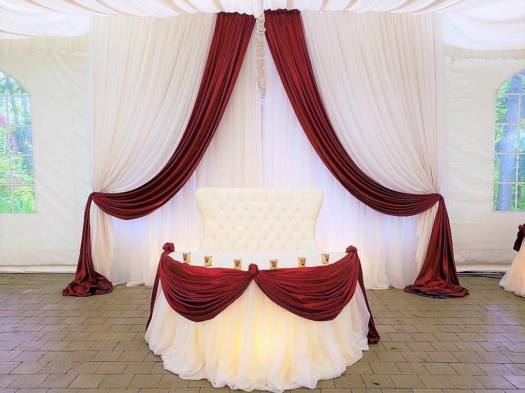 Sweet Heart Window Drape Backdrop in White Sheer with Crimson Red Satin