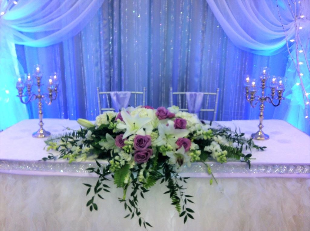 Sweet Heart Table in white, silver, crystals and hints of lavender
