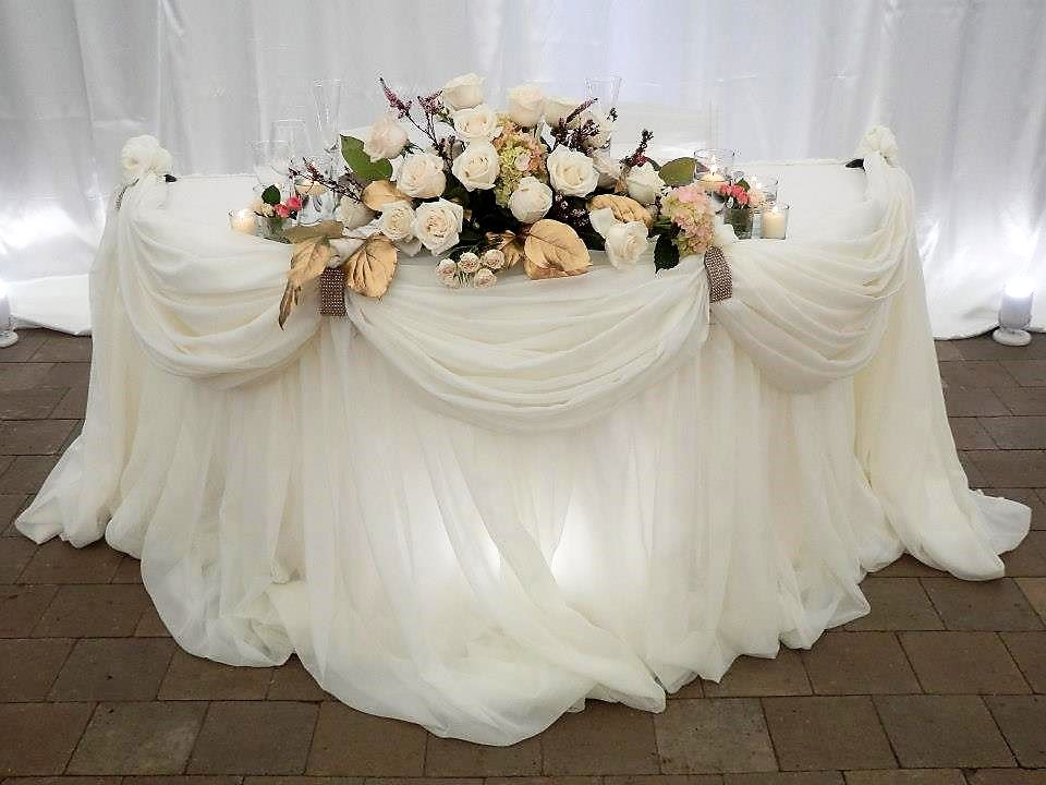 White Pillowy Sheer with a Simple Valance Sweet Heart Table