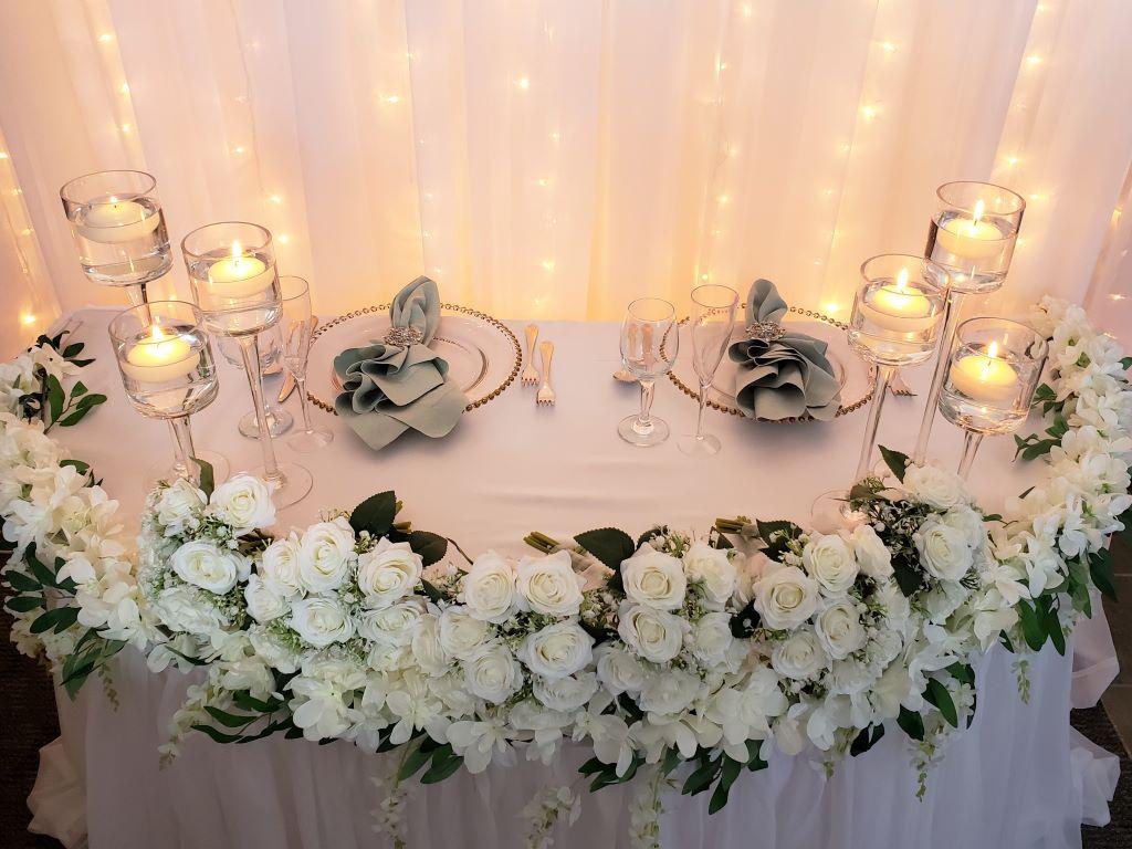 White Pillowy Sheer Skirting, Silk Garland & Roses, Stemmed Candlesticks