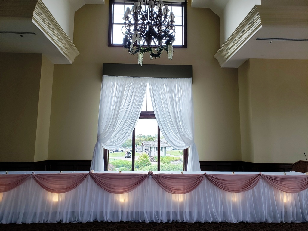 Blush Chiffon Valance over Pillow Sheer Skirting with Underlighting