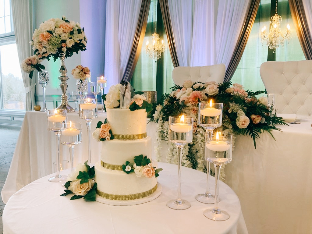 Cake Table with Stemmed Candlestick Trios