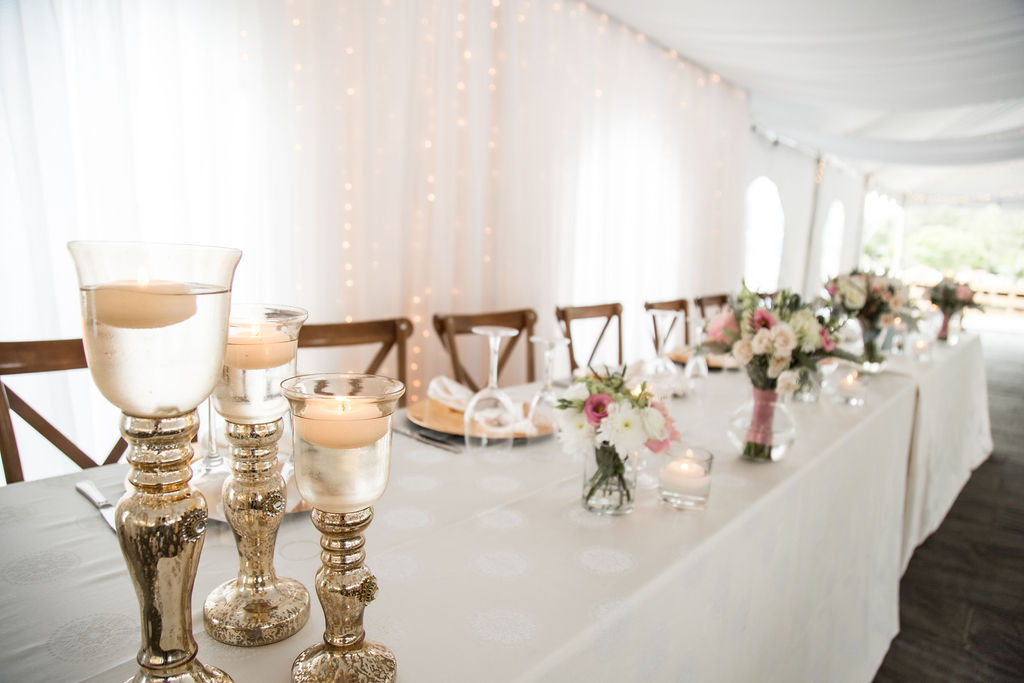 Gold Candlestick Trios for Head Table Ends