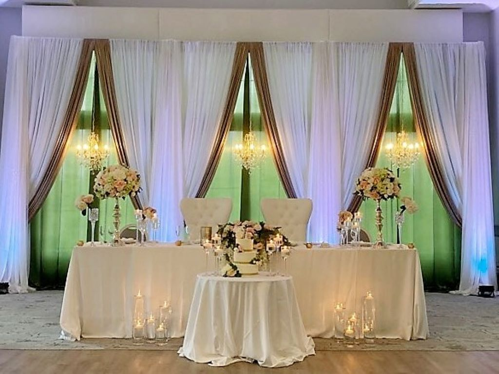 Head Table Accessories - candlesticks, pedestal vases, bride & groom chairs
