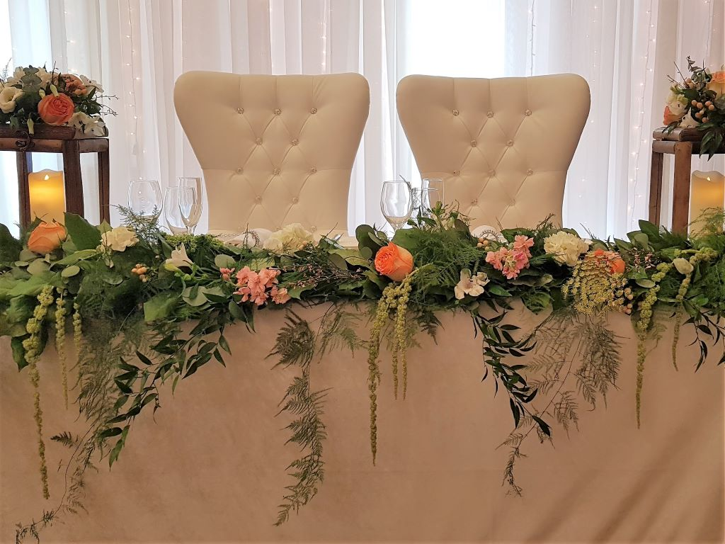 Fresh Floral Garland with Wood Lanterns, Bride & Groom Chairs