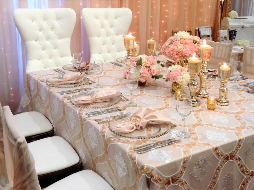 Kings Table with Venetian Gold Overlays, Bride & Groom Chairs, Gold Candlesticks etc.