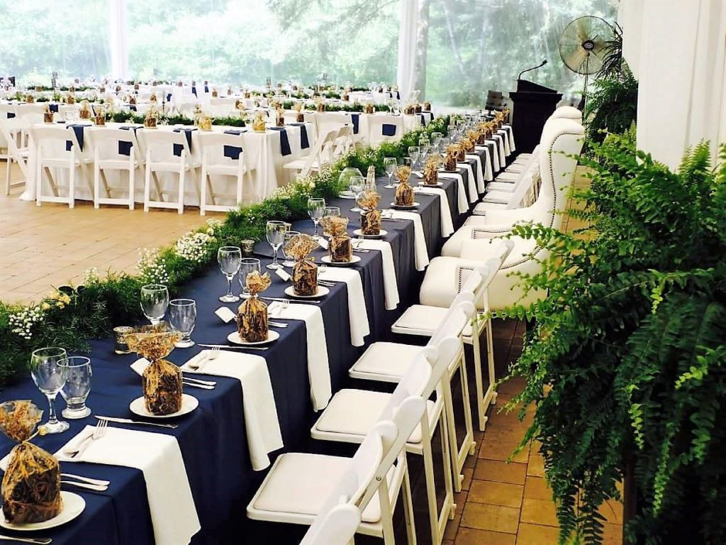 Navy & White Head Table with Fresh Floral Garland
