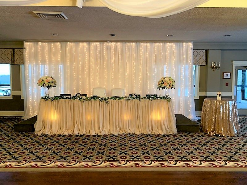 Champagne Pillowy Sheer Skirting with Silk Garland & Fairy Lights