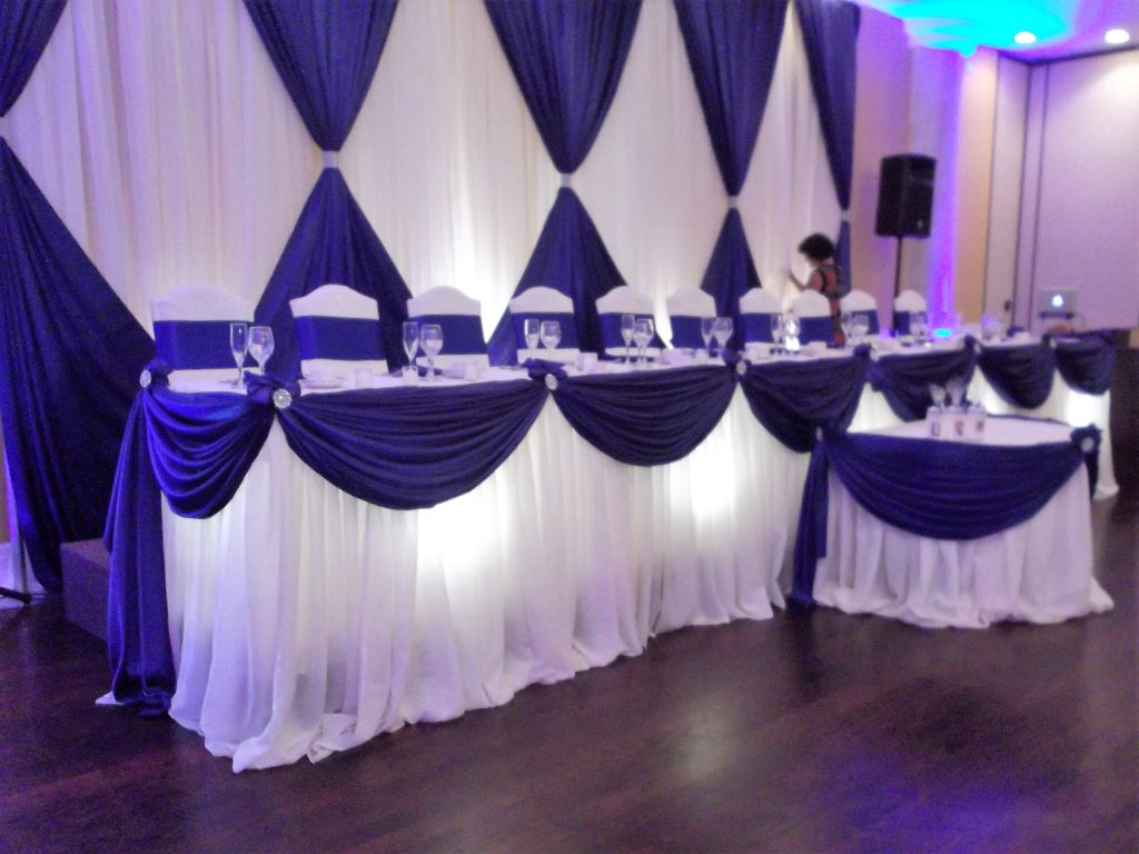 White Pillow Sheer with Royal Blue Valance Head Table Decor