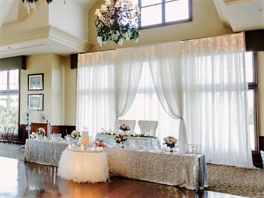 Silver Sequin Head Table 2-tier, Bride & Groom Chairs