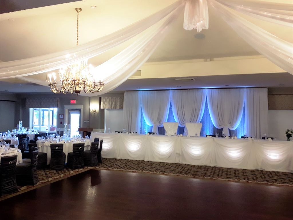 Traditional Head Table Sheer with Underlighting