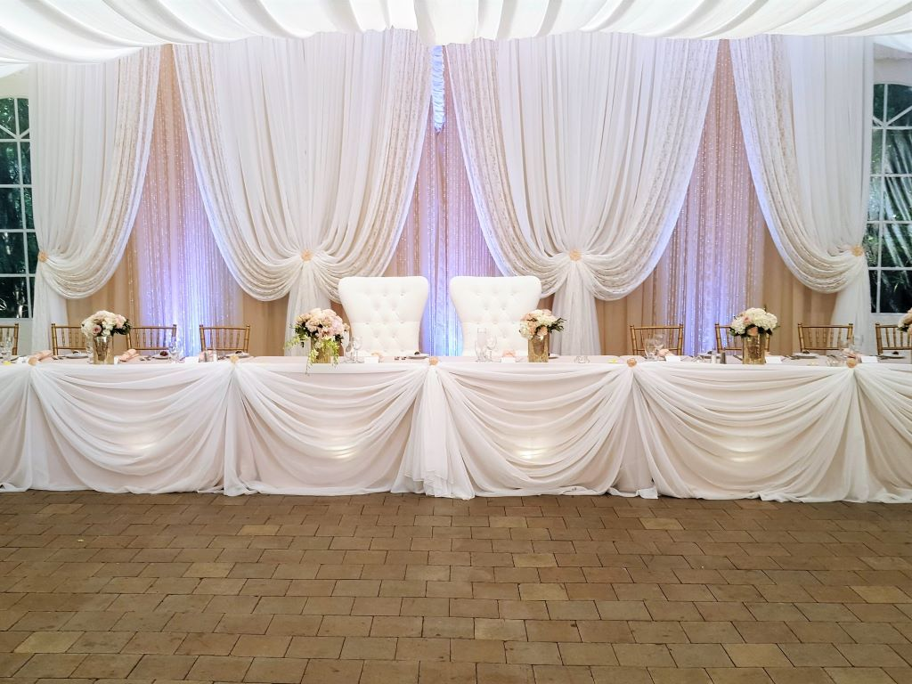 Traditional Head Table Decor & Bride & Groom Chairs