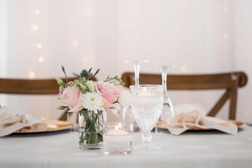 Head Table Trio - Vintage Goblet, Floral Snippet & Votive
