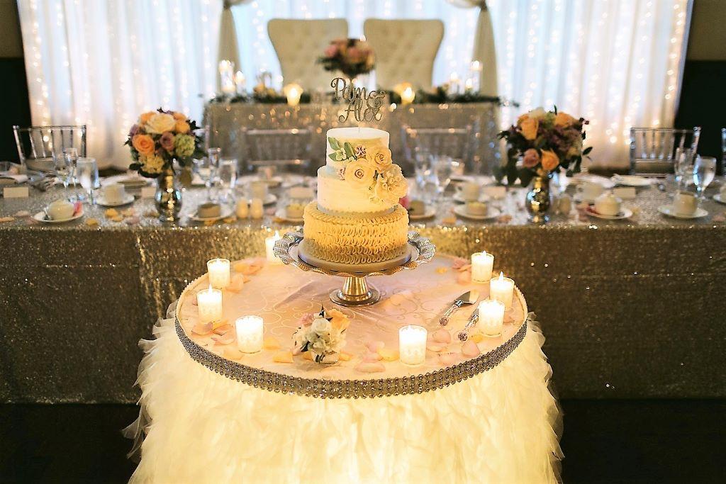 Cake Table White Ribbon Skirting & Silver Band