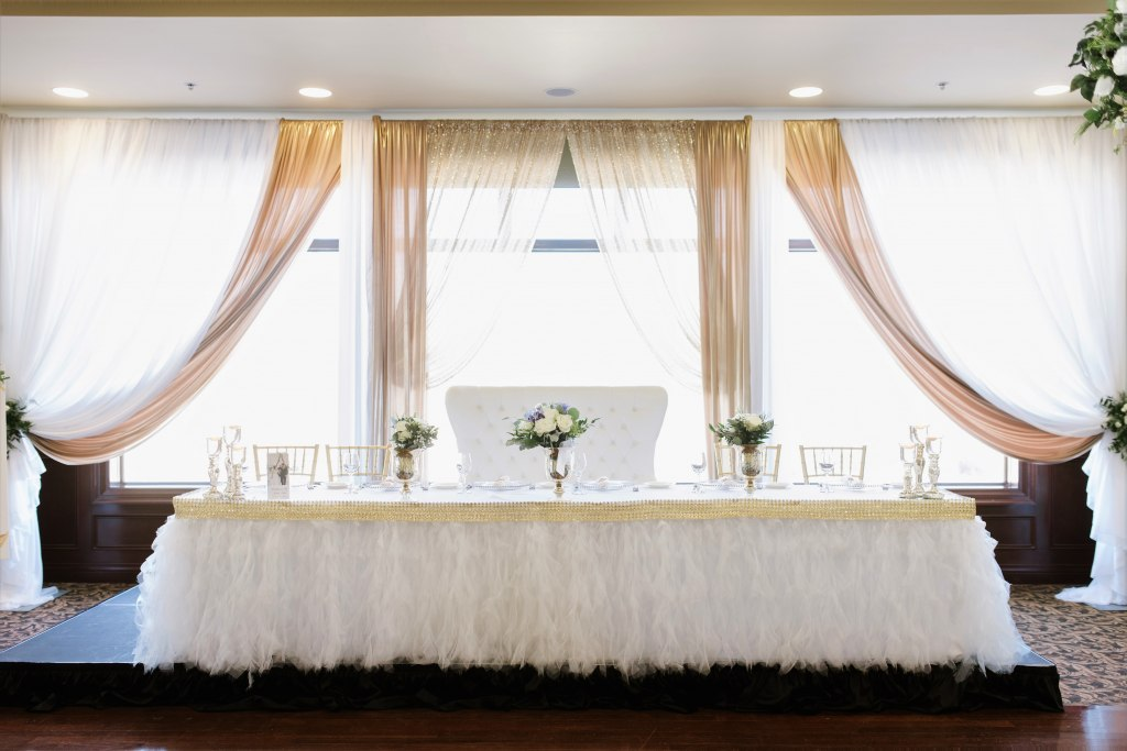 White Ribbon Skirting with Gold Rhinestone Band & Underlighting Head Table, Loveseat